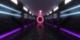 Fototapeta Do przedpokoju - 3D abstract background with neon lights. neon tunnel .space construction . 3d illustration
