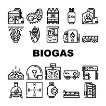 Biogas Energy Fuel Collection Icons Set Vector. Biogas Refueling Station And Cylinder, Corn And Algae Natural Ingredient Of Gas, Methane And Hydrogen Black Contour Illustrations