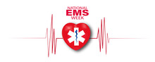 Vector Illustration Of Emergency Medical Services Week Or EMS Week. American Theme And Background