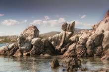 Closeup Shot Of Big Rocks On A Seashore On A Sunny Day - Perfect For Background