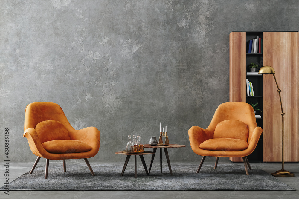 Obraz Living room interior in loft, industrial style, 3d render fototapeta, plakat