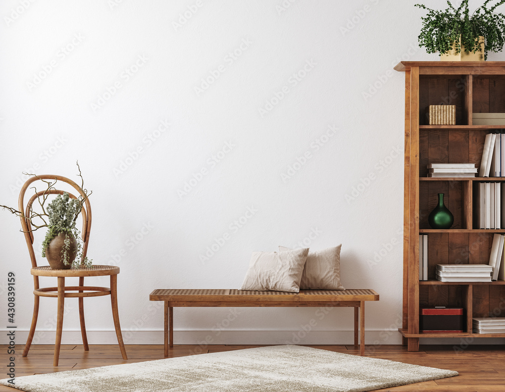 Obraz Farmhouse living room interior with wooden furniture, wall mockup, 3d render fototapeta, plakat