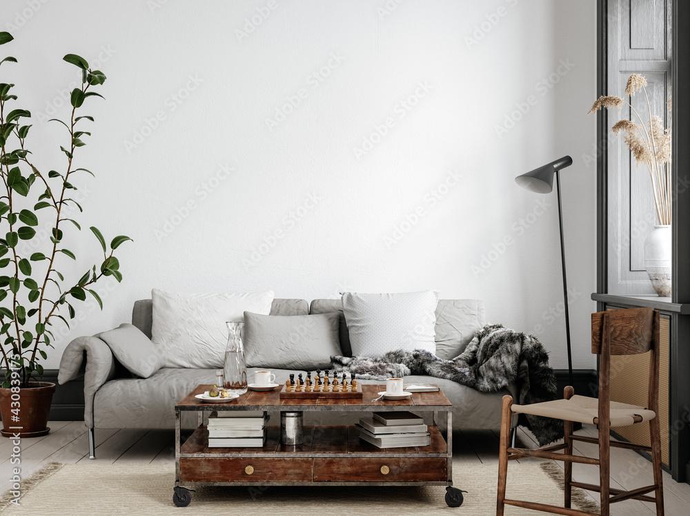 Scandinavian living room interior background, wall mockup, 3d render - obrazy, fototapety, plakaty