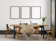 canvas print picture Mockup frame in Scandinavian living room interior background, wall mockup, 3d render