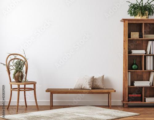 Fototapeta Farmhouse living room interior with wooden furniture, wall mockup, 3d render obraz