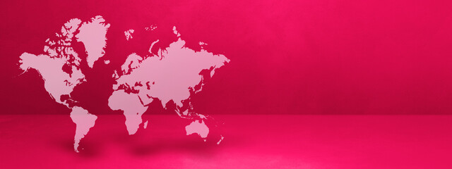 World map on pink wall background. 3D illustration. Horizontal banner