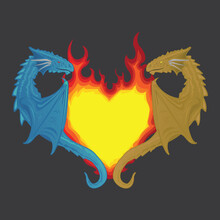 Two Dragon Holding On To The Heart Which Is In The Form Of A Burning Flame