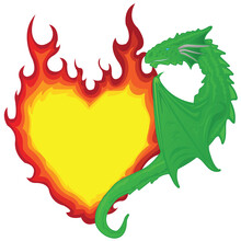 Single Dragon Holding On To The Heart In The Form Of A Burning Flame