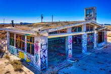 Vandalized Graffiti Covered Abandoned Gas Station