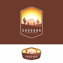 Illustration Of Saguaro National Park Emblem Logo Patch On Dark Background