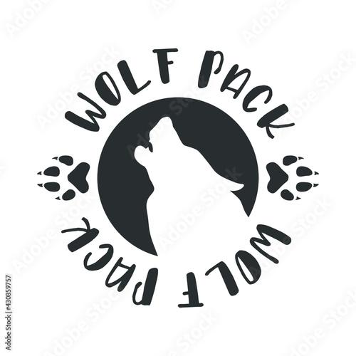 Fotografie, Obraz Wolf Pack Illustration Badge Sign