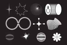 Strange Vector Shapes Collection. Geometric Figures, Distortion.