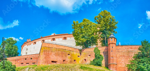 Fototapeta The huge bastions of the Wawel Castle in Krakow, Poland