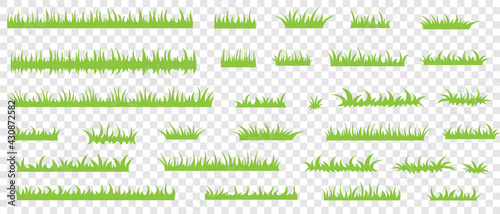 Fototapeta Green grass, vector set for drawing pictures in flat style. Natural material for collecting screensavers. obraz