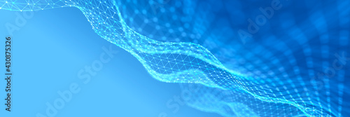 Abstract digital blue background. Network connection structure. Big data. Futuristic wave. 3D rendering. - fototapety na wymiar
