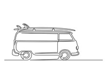 Continuous One Line Drawing Of An Vintage Van With Surfboard. Vintage Van With Surfboard Isolated On A White Background. Vector Illustration