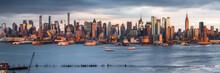 New York City Skyline Panorama Along The Hudson River