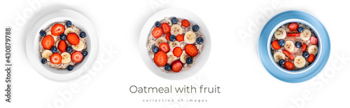 Canvas-taulu Oatmeal with fruit isolated on a white background