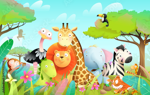 Fototapeta premium Wild exotic baby animals in african jungle or savanna with trees and leaves background. Cute colorful animals safari adventure for kids. Vector cartoon in watercolor style.