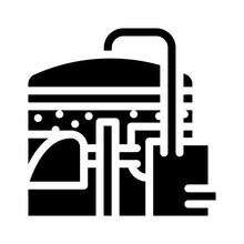 Methane Tank Or Biogas Plant, Digester Or Reactor Glyph Icon Vector. Methane Tank Or Biogas Plant, Digester Or Reactor Sign. Isolated Contour Symbol Black Illustration