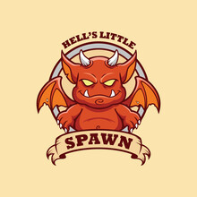 Red Little Devil Logo Template