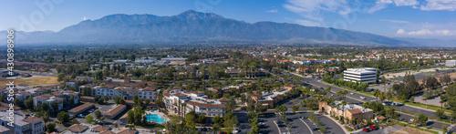 Daytime aerial view of downtown Rancho Cucamonga, California, USA. - fototapety na wymiar