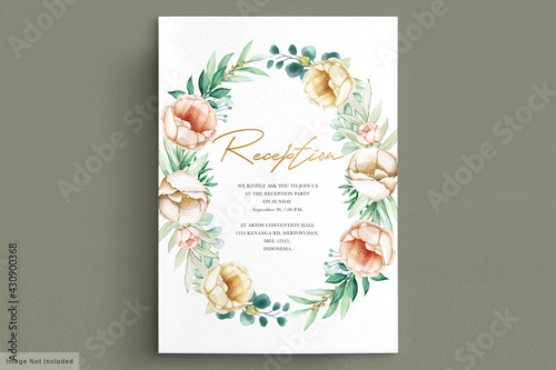Photo Romantic watercolor peonies wedding card set