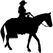 Cowgirl Riding A Horse Silhouette In Black On White Background