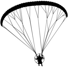 Powered Paraglider Vector Illustration In Black On White Background