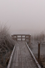 A Wildlife Viewing Deck On A Frosty, Foggy Morning In The Klamath Wildlife Area On The Klamath River, Oregon.
