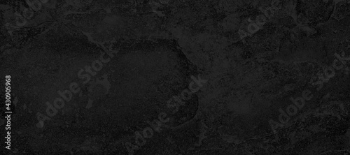 Fotografie, Obraz Panorama of Dark grey black slate background or texture