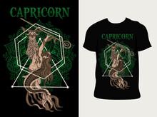 Illustration Capricorn Zodiac Symbol With T Shirt Design