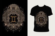 Illustration Gemini Zodiac Symbol With T Shirt Design