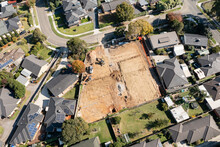 Aerial Photo Of Vacant Residential Land Under Development In Australia