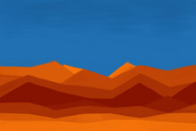 Minimalism Landscape Painting, African Desert, Simple Color Palette Artwork. Minimal Geometric Shapes Painted With Dark Blue Sky And Hot Sand