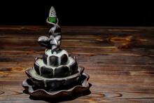Ceramic Backflow Incense Burner In The Form Of Lotus Flower. Incense Cones Holder. Dark Mystic Concept.