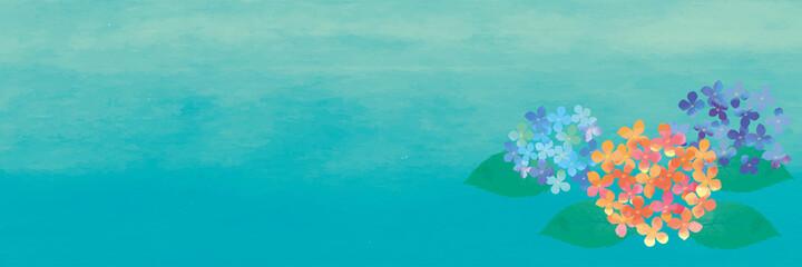 水彩画 水彩タッチ初夏梅雨の植物花 紫陽花のイラスト 横型バナー文字スペース