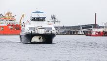Catamaran Fast Passenger Ferry Enters The Port Of Bergen
