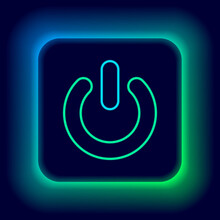 Glowing Neon Line Power Button Icon Isolated On Black Background. Start Sign. Colorful Outline Concept. Vector