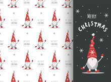 Christmas Card With Gnome In Red Hat. Cute Scandinavian Elves On Seamless Pattern. Vector Illustration In Cartoon Style. New Year Design For Wrapping Paper, Textiles, Fabric.