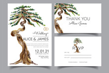 Wedding Invitations With The Theme Of Bonsai, Old Trees