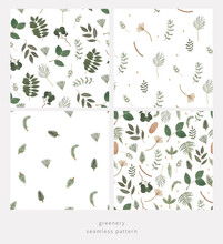 Forest Greenery Seamless Pattern. Hand Drawn Green Botanical Background. Pine Tree Branches Natural Fabric Print. Foliage Digital Paper. Perfect For Gift Wrap, Packaging, Greeting Cards, Invitation.