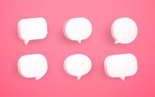 3d Pink Speech Bubble Collection Set