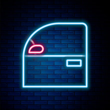 Glowing Neon Line Car Door Icon Isolated On Brick Wall Background. Colorful Outline Concept. Vector