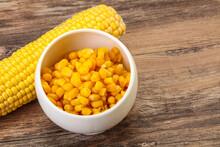 Sweet Yellow Corn In The Bowl