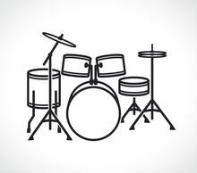 Drum Set Icon Isolated Vector