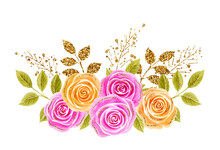Roses Flowers Bouquet. Hand Drawn Watercolor Painting With Pink And Yellow Roses Golden And Glittering Foliage Isolated On White Background. Design Element For Greeting Card.