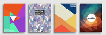 Modern Geometric Abstract Background Covers Set. Colorful Geometric Background, Set Of A4 Cover. Header Design For Flyer, Book, Info Banner Frame, Title Sheet. Modern Design