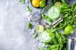 Leinwandbild Motiv Basil smash gin cocktail