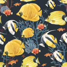 Beautiful Vector Seamless Underwater Pattern With Cute Watercolor Colorful Fish. Stock Illustration.
